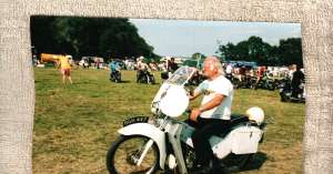 Our friend Alan Hopkins on his beloved L.E. Velocette, somewhere in England. Mr. Mike has a '47 L.E. Velo.